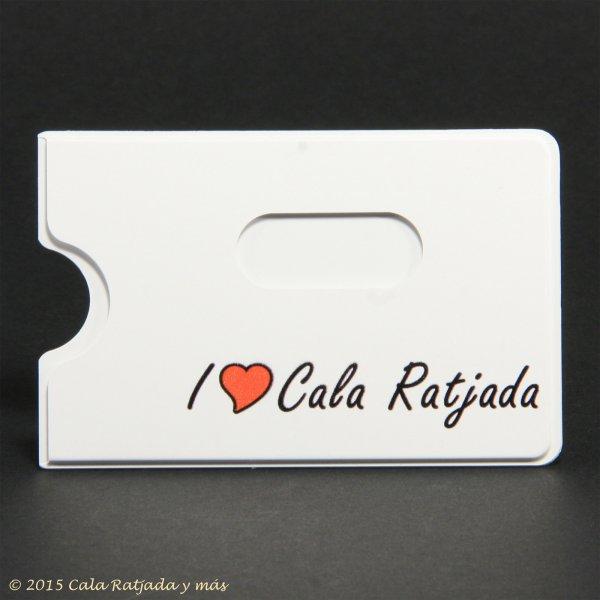 weisse Kartenhülle für EC- und Kreditkarten mit Aufdruck I Love Cala Ratjada