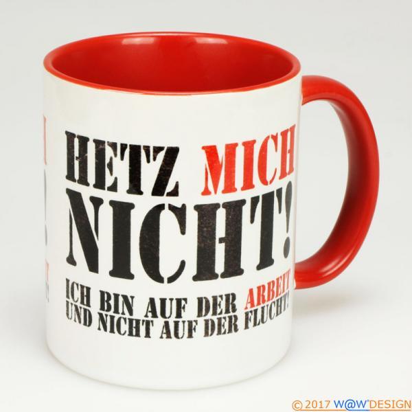 Kaffeebecher Het Mich Nicht! at Work BiCo red - Henkel rechts