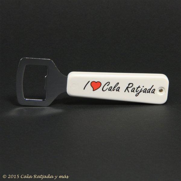 Metallflaschenöffner mit Kunststoffgriff und Aufdruck I Love Cala Ratjada